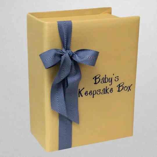 B14C-52C-Yellow-Shantung-Blue-Striped-Ribbon-Style-151-Medium-Blue-Thread-Babys-Keepsake-Box