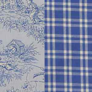 Fabric-Swatch-Cotton-Blue-Toile-with-Blue-Plaid-Cotton