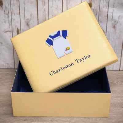 Large Baby Keepsake Box In Shantung With Embroidered Truck On Blue Jumper