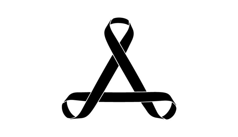 04. Tríada de lazos imbricados en composición esférica (negro sobre blanco).