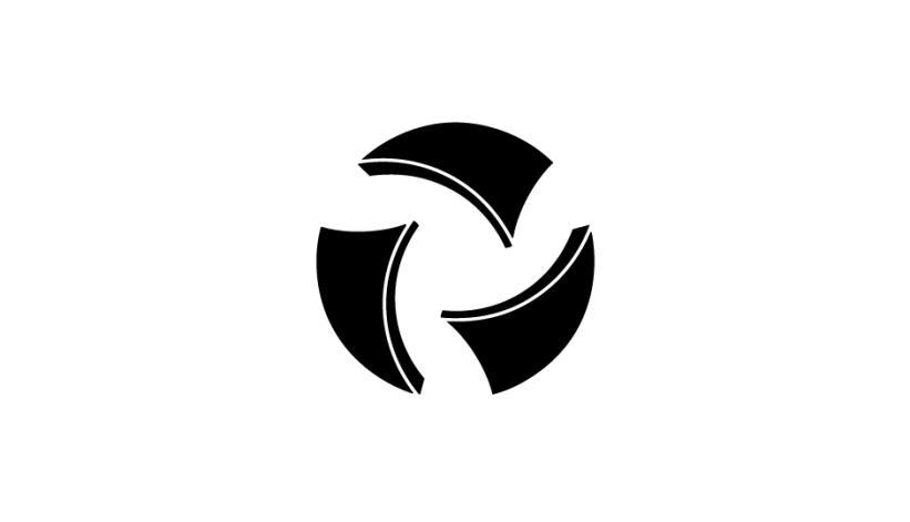 44. Composición abstracta envolvente referencial para simbolizar la idea del hospital de día (negro sobre blanco).