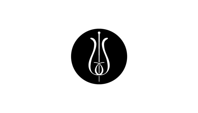 24. Configuración lineal ambivalente de flor y vara de esculapio (blanco sobre negro) en soporte circular.