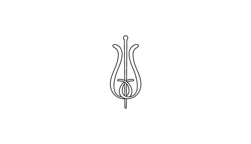 22. Configuración lineal ambivalente de flor y vara de esculapio (negro sobre blanco).
