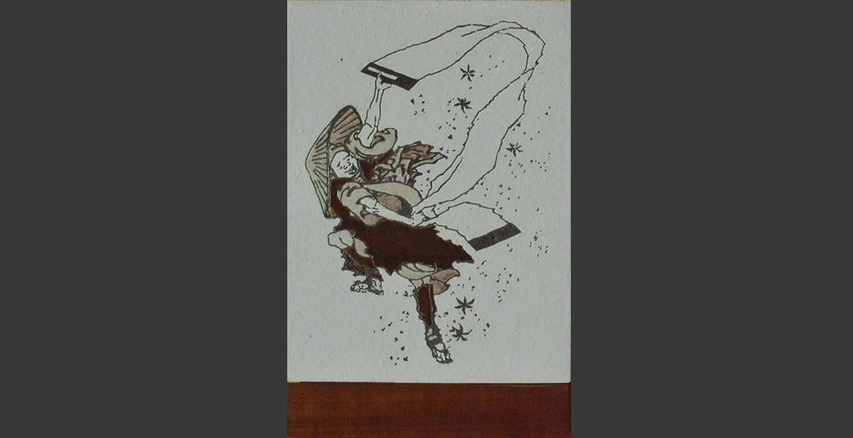 Hokusai vent peintre acajou