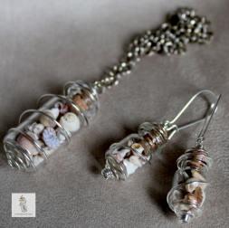 5 pendentif et BO fioles argente coquillage la manufacture de lady s bijoux steampunk