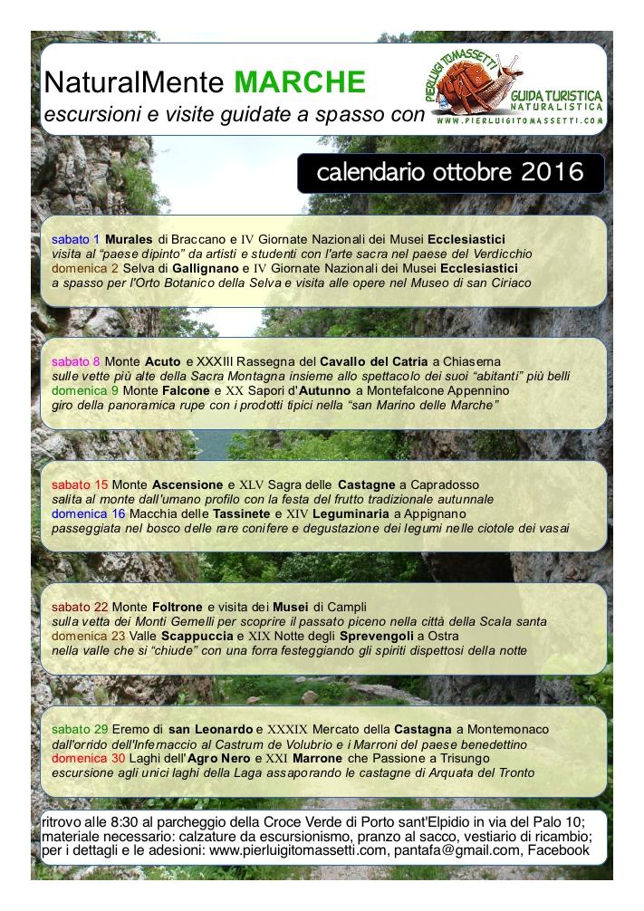 calendario escursioni e passeggiate di ottobre
