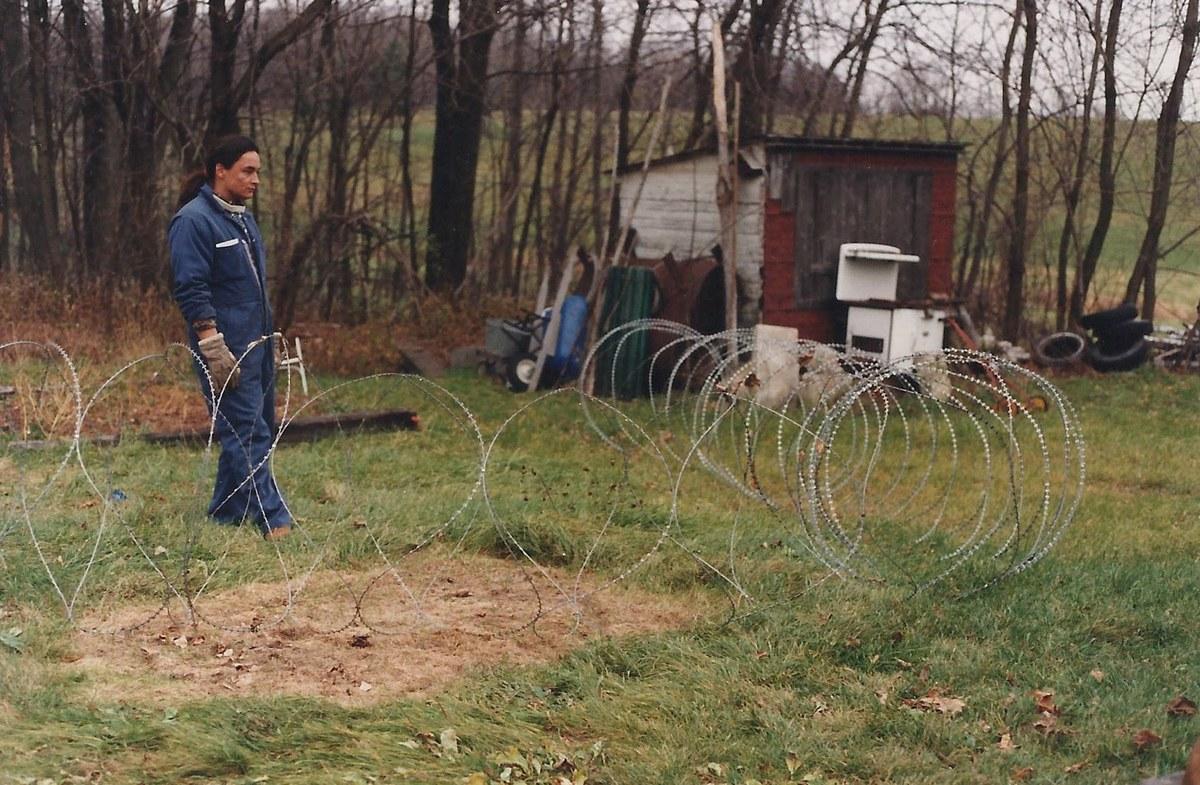 Joe David working on an art installation in Kanehsatake.