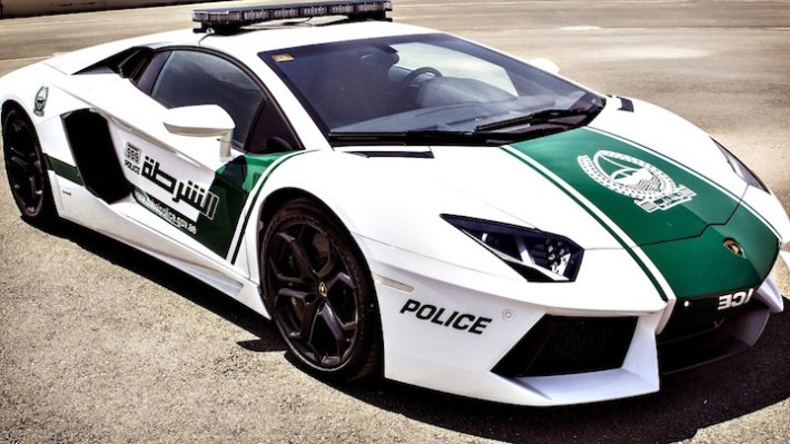 "A handout picture released by Dubai poli...A handout picture released by Dubai police on April 11, 2013 shows the police department's new patrol car, a especially modified quarter-of-a-million dollar Lamborghini Aventador, in the Gulf emirate. The introduction of the sports car, which can reach speeds of up to 349 km/h (217 mph), aims to make justice quicker on Dubai's dangerous highways. AFP PHOTO/HO/DUBAI POLICE == RESTRICTED TO EDITORIAL USE - MANDATORY CREDIT ""AFP PHOTO/HO/DUBAI POLICE"" - NO MARKETING NO ADVERTISING CAMPAIGNS - DISTRIBUTED AS A SERVICE TO CLIENTS ==HO/AFP/Getty Images"