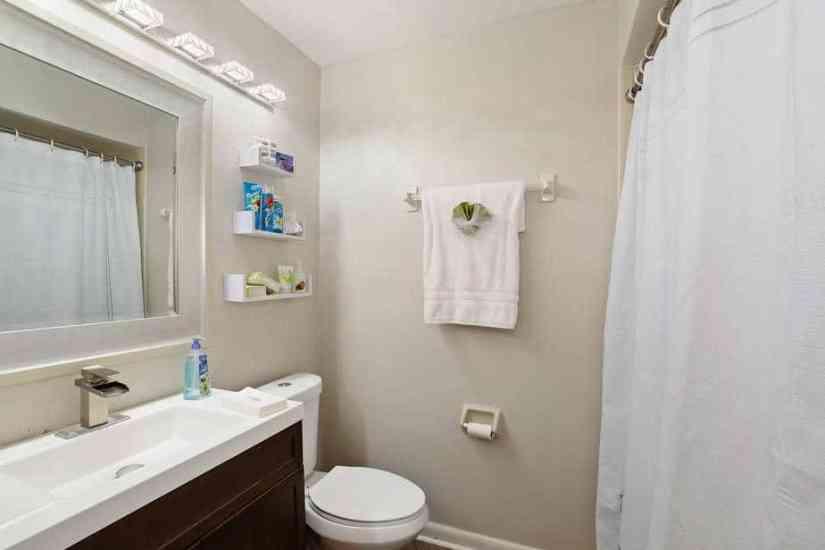 Renovated bathroom in condo flip