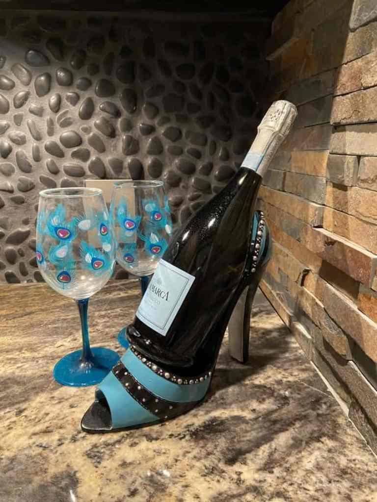 wine bottle in shoe shaped bottle holder