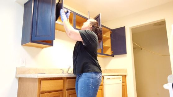 Painting kitchen cabinets blue
