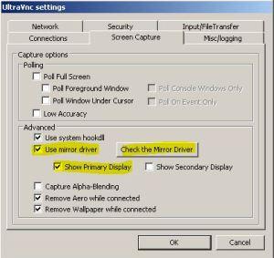 uvnc video driver konfiguracja
