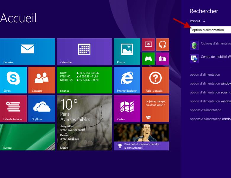 Activer la veille prolongée sur Windows 8 et 8.1