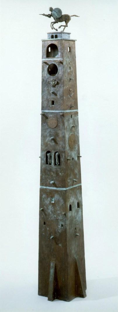 Uhrenturm, 1995, Bronze, Unikat, H 135 cm