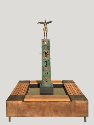 Sitzbrunnen Turm der Engel 2019, Bronze /Holz, 150 x 150 x 195 cm