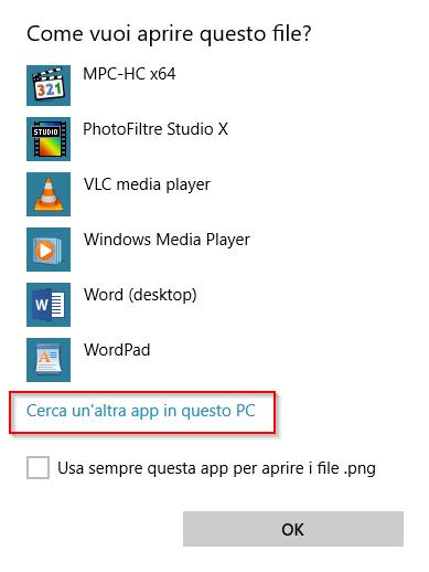 Cerca un'altra app in questo PC