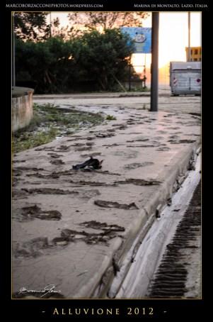 I marciapiedi ricoperti di fango registrano il passaggio delle persone. The dust-covered sidewalks record the passate of people