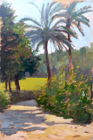 palme a villa Ada oil on panel 20x30 cm