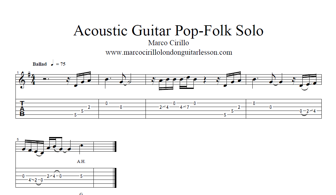 Acoustic Guitar Solo Pop-Folk in G - Free Acoustic Guitar Lesson on Line -