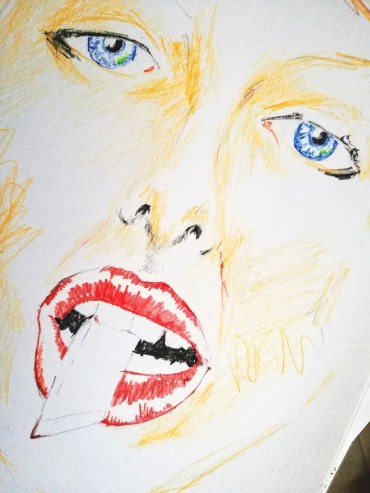 Segna labbro. Disegno incompleto a matita