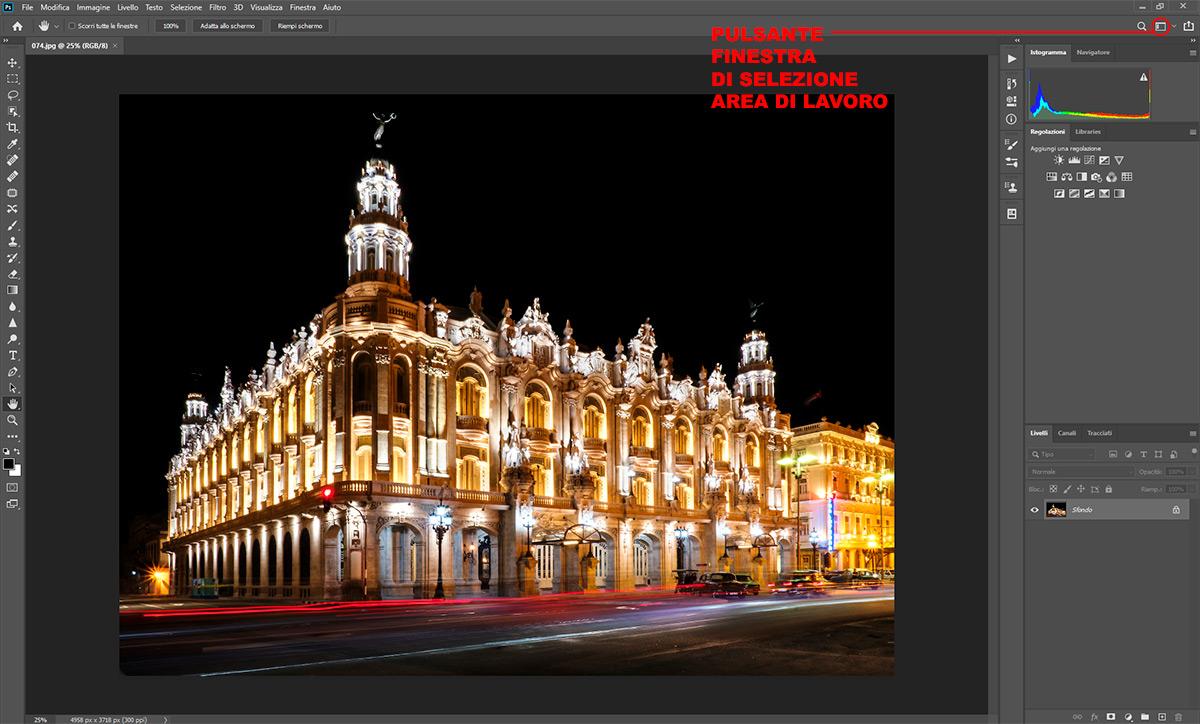 Pulsante finestra di selezione area di lavoro in Photoshop