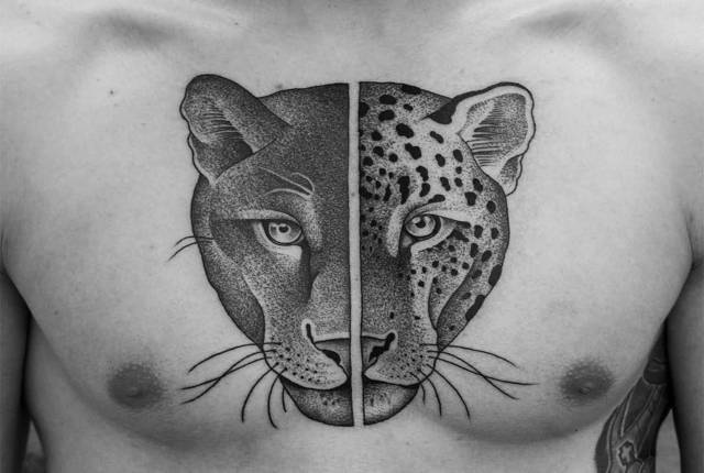 Tatuagem pantera negra e leopardo
