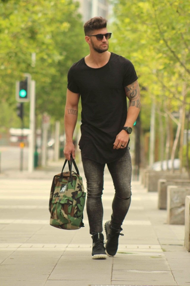 look masculino: camiseta longline