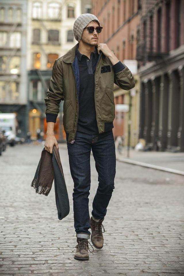 moda masculina: bota e jaqueta bomber