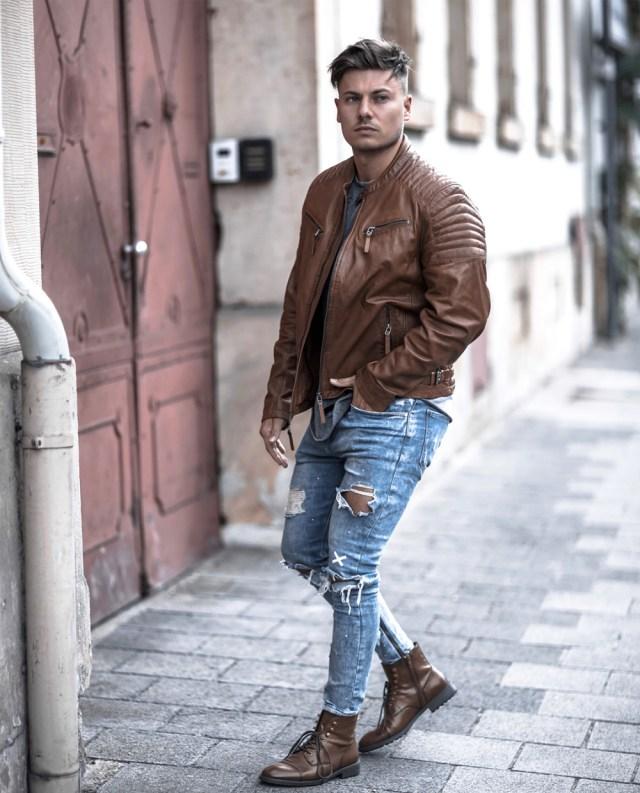jaqueta de couro marrom masculina