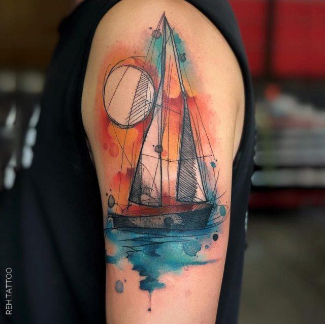 Tatuagem aquarela de barco para homens