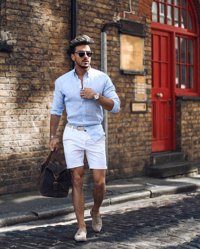 Camisa com bermuda branca homem