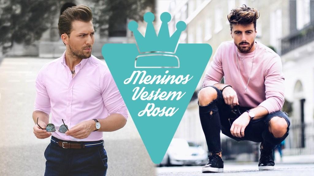 Roupa masculina com a cor rosa