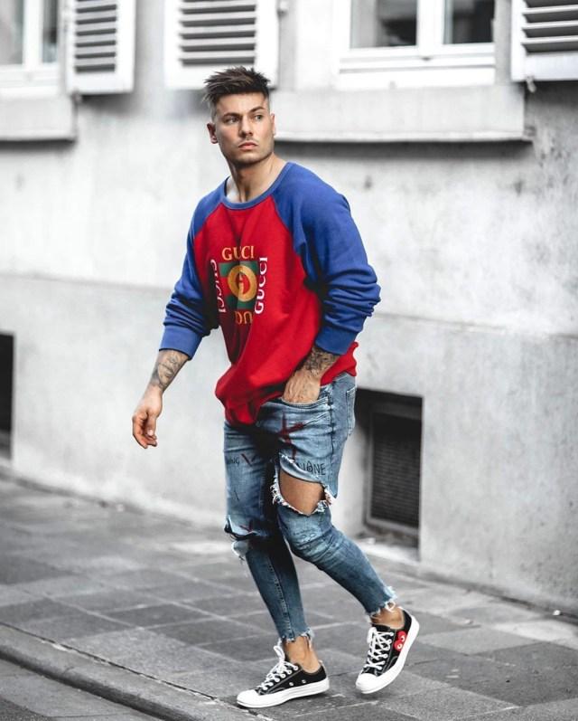 Look street com moletom da Gucci