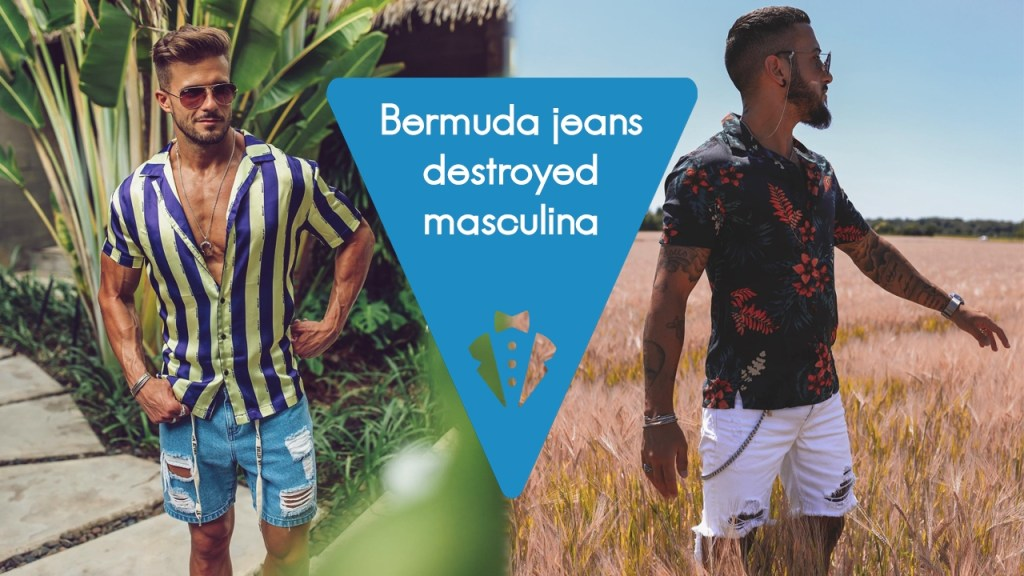 Moda masculina: bermuda jeans destroyed