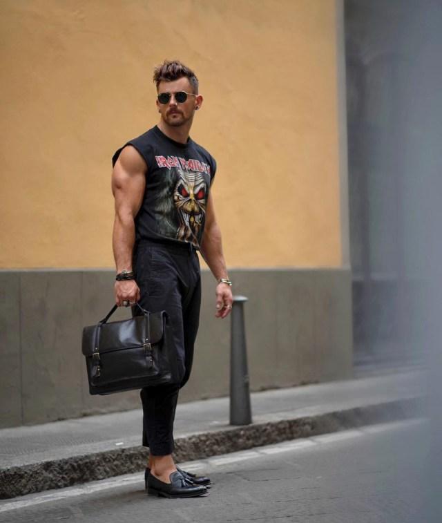 Camiseta de rock para homens