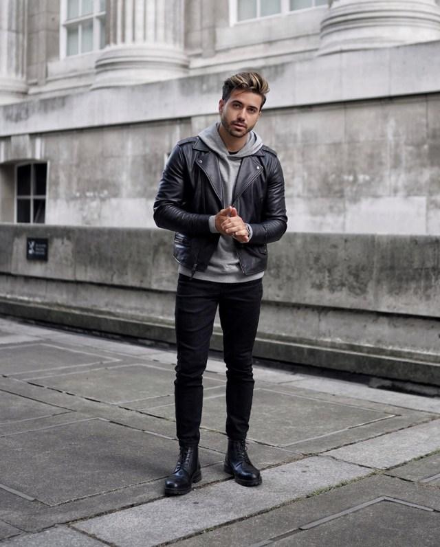 Look masculino com jaqueta de couro Perfecto