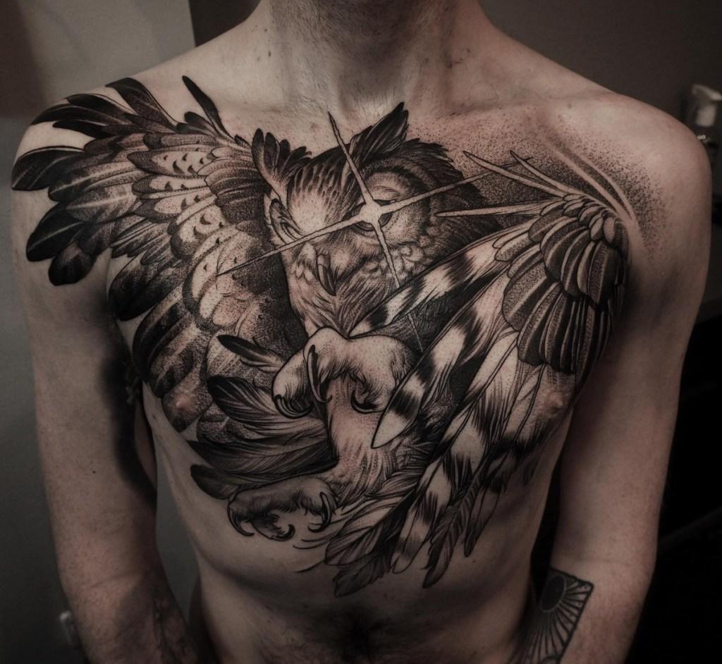 Chest piece owl tattoo