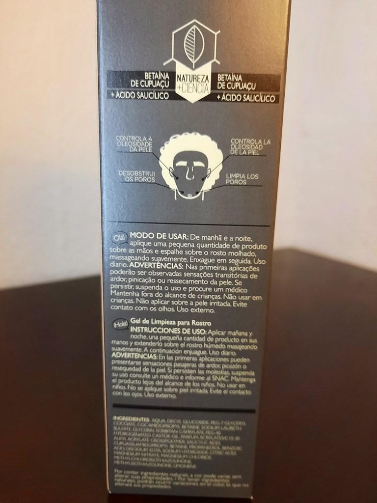 Embalagem e descrição Gel Facial Natura Homem