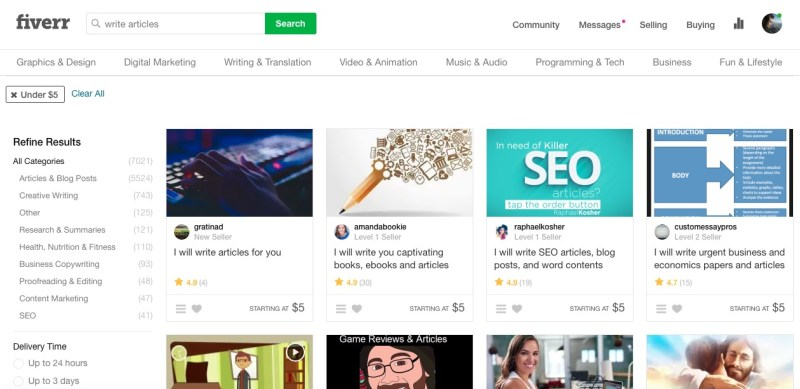 find article writers on fiverr
