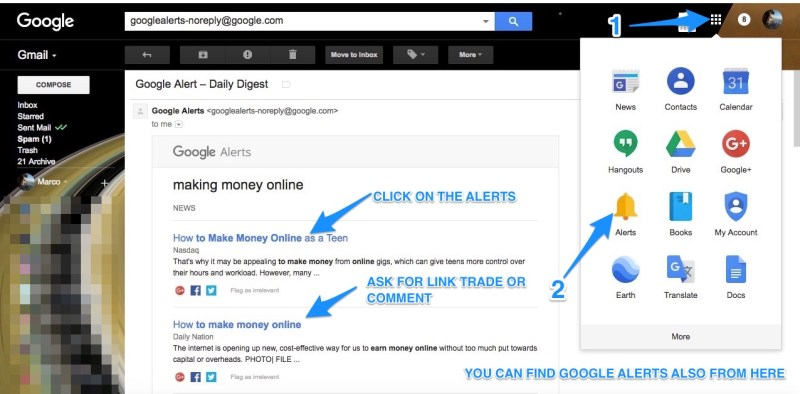 how to set up google alerts and reach people