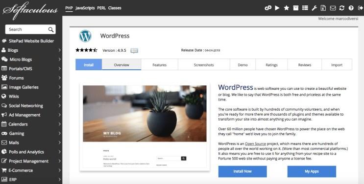 tmd hosting installazione wordpress con un click