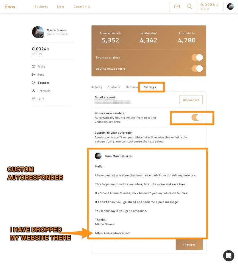 earn.com bounce email settings and custom autoresponder