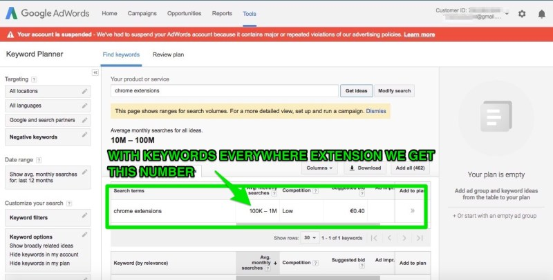 google keyword planner risultati per chrome extensions