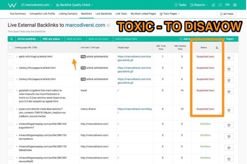 backlink toxicity web ceo