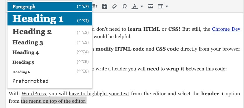 create an h1 header on wordpress
