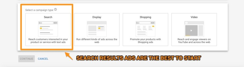 google ads search results