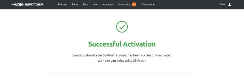 semrush successful activated