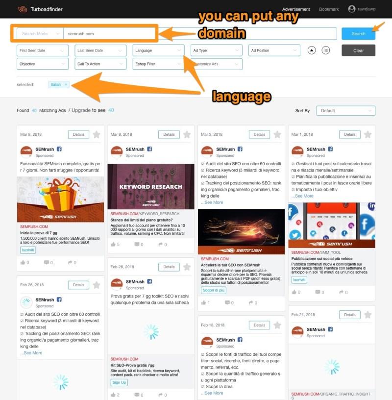 semrush turbo ad finder on facebook