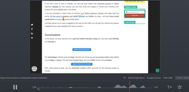 clic del mouse e registrazione dello schermo