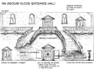 Entrance Hall NW Context Sketch - Marc